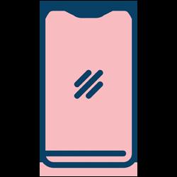 Tillgängligt i både dator och mobil, ikon
